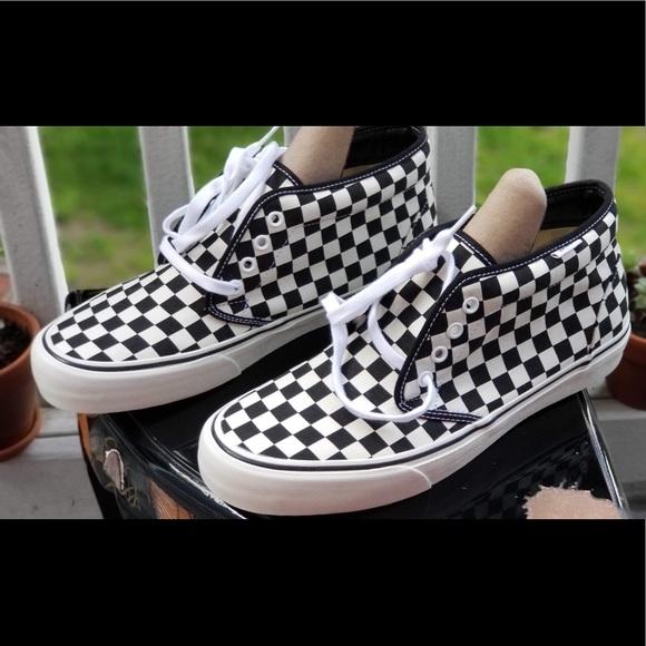 vans mens checkered shoes